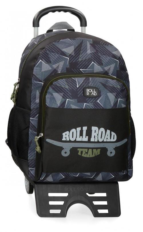 41125T1 mochila grande 46 cm con cantoneras de goma y con carroroll road team