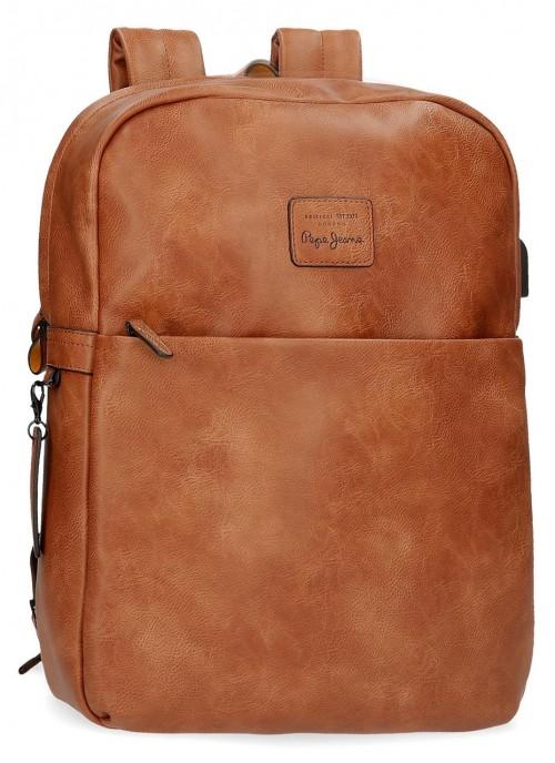 7152222 mochila portaordenador y tablet Pepe Jeans Vegan Marrón