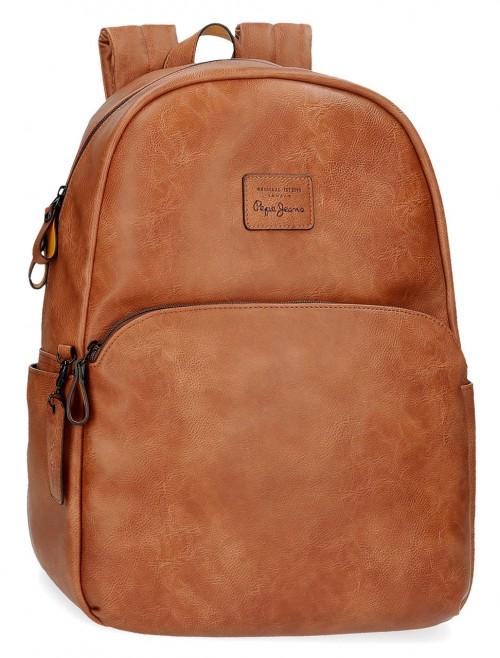 7152322 mochila portaordenador Pepe Jeans Vegan marrón