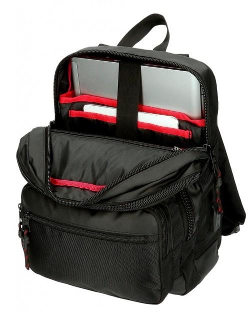 7162221 mochila portaordenador 36 cm Pepe Jeans Bromley negro