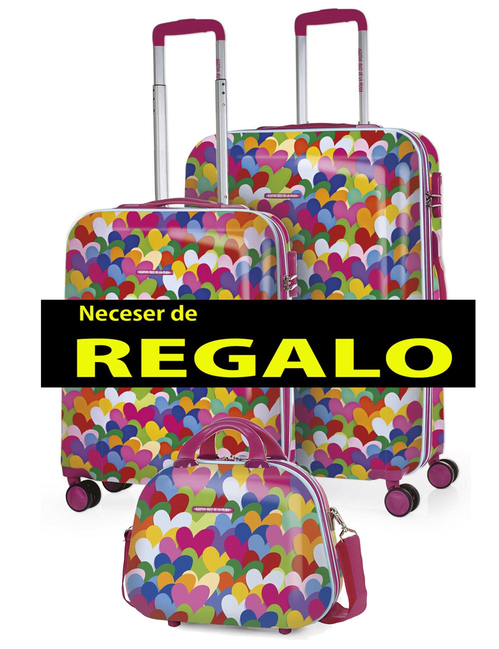 131100 2 Juego Maletas Cabina 55cm y Mediana Agatha Ruiz de la Prada Corazones Colores