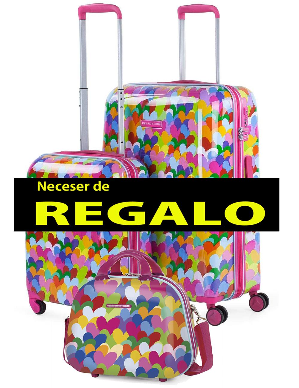 131102 2 Juego Maletas Cabina Pequeña de 40cm y Mediana Agatha Corazones Colores