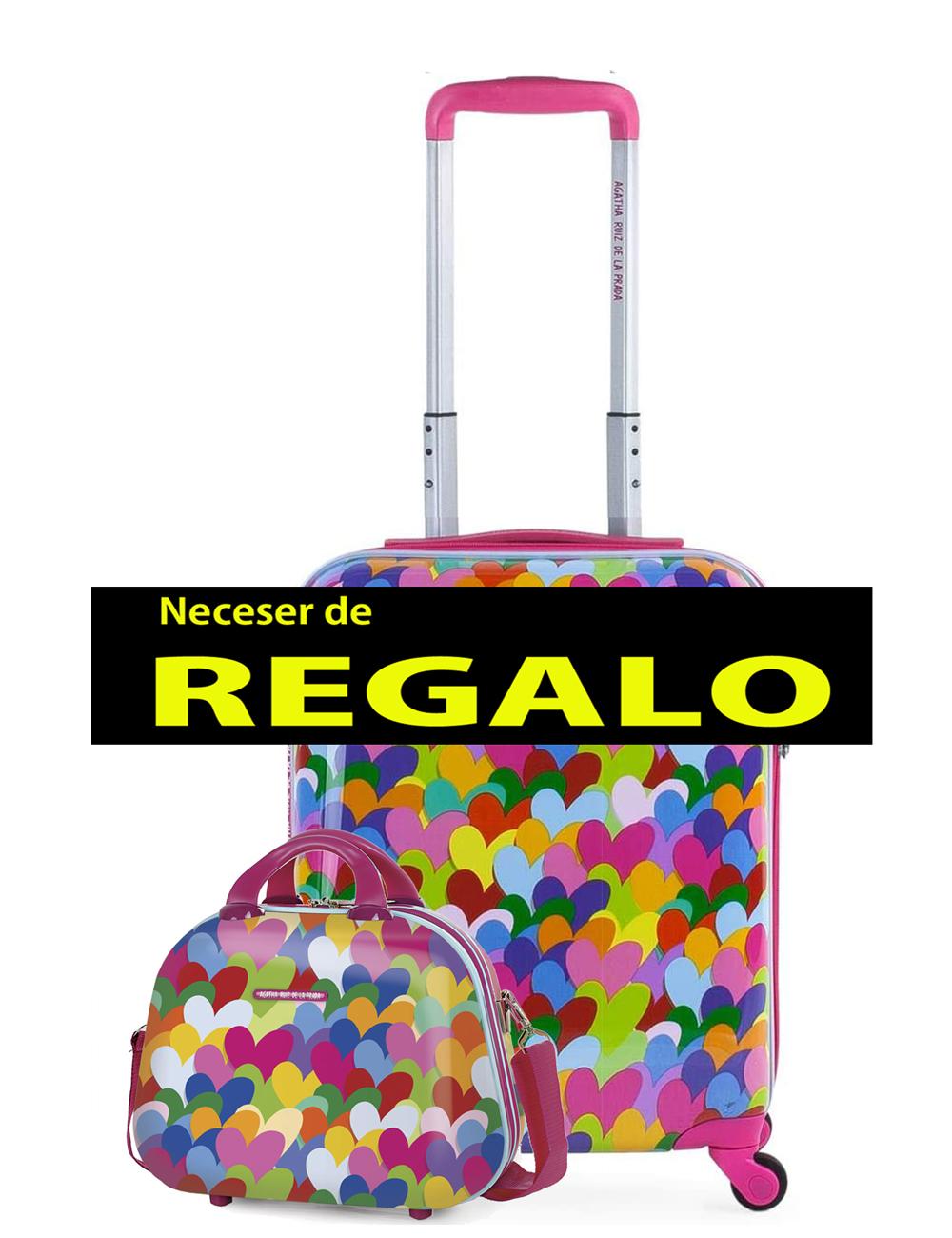 131140 2 Maleta Cabina PEQUEÑA 40cm Agatha Ruiz de la Prada Corazones Colores