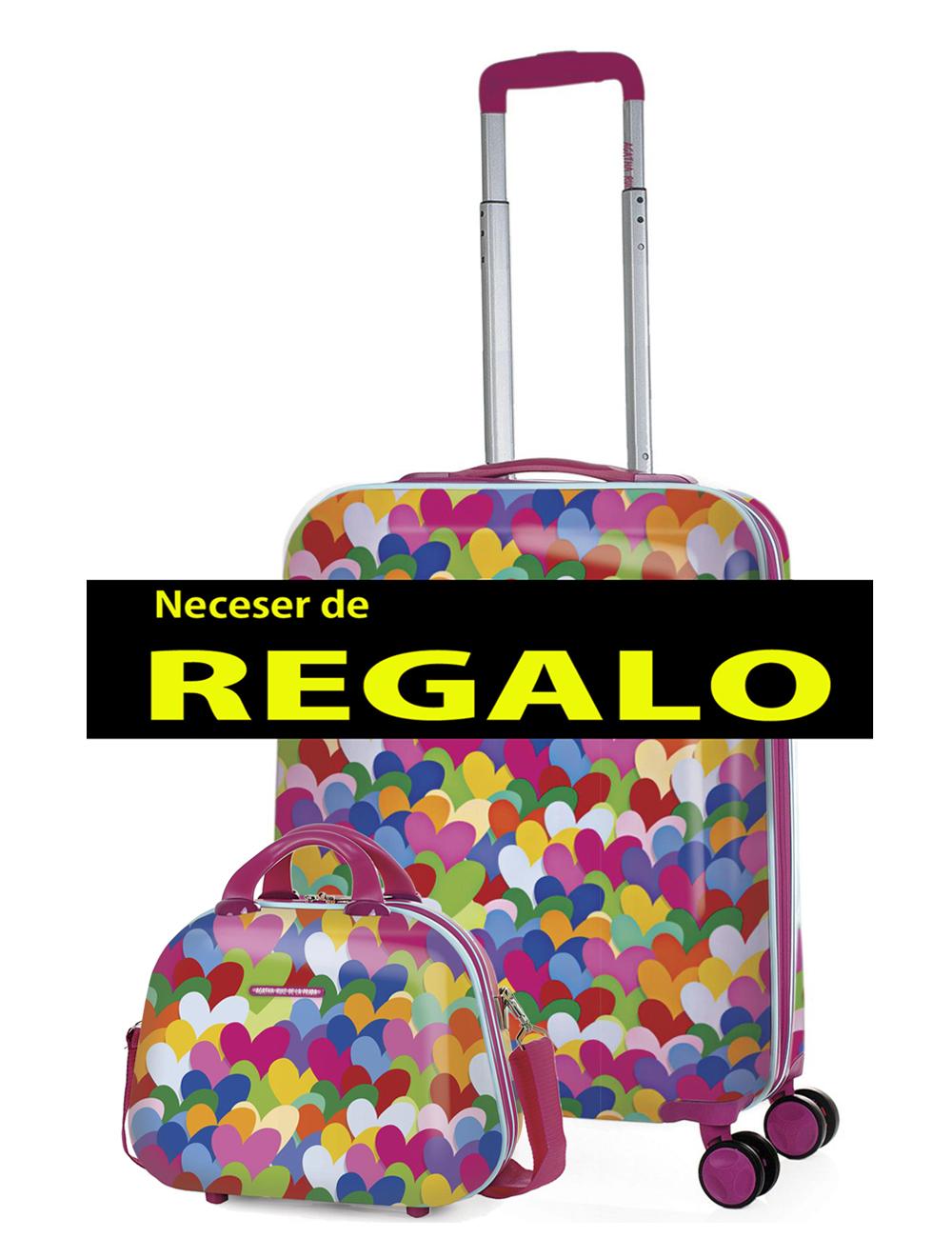 131150 2 Maleta Cabina 55cm Agatha Ruiz de la Prada Corazones Colores
