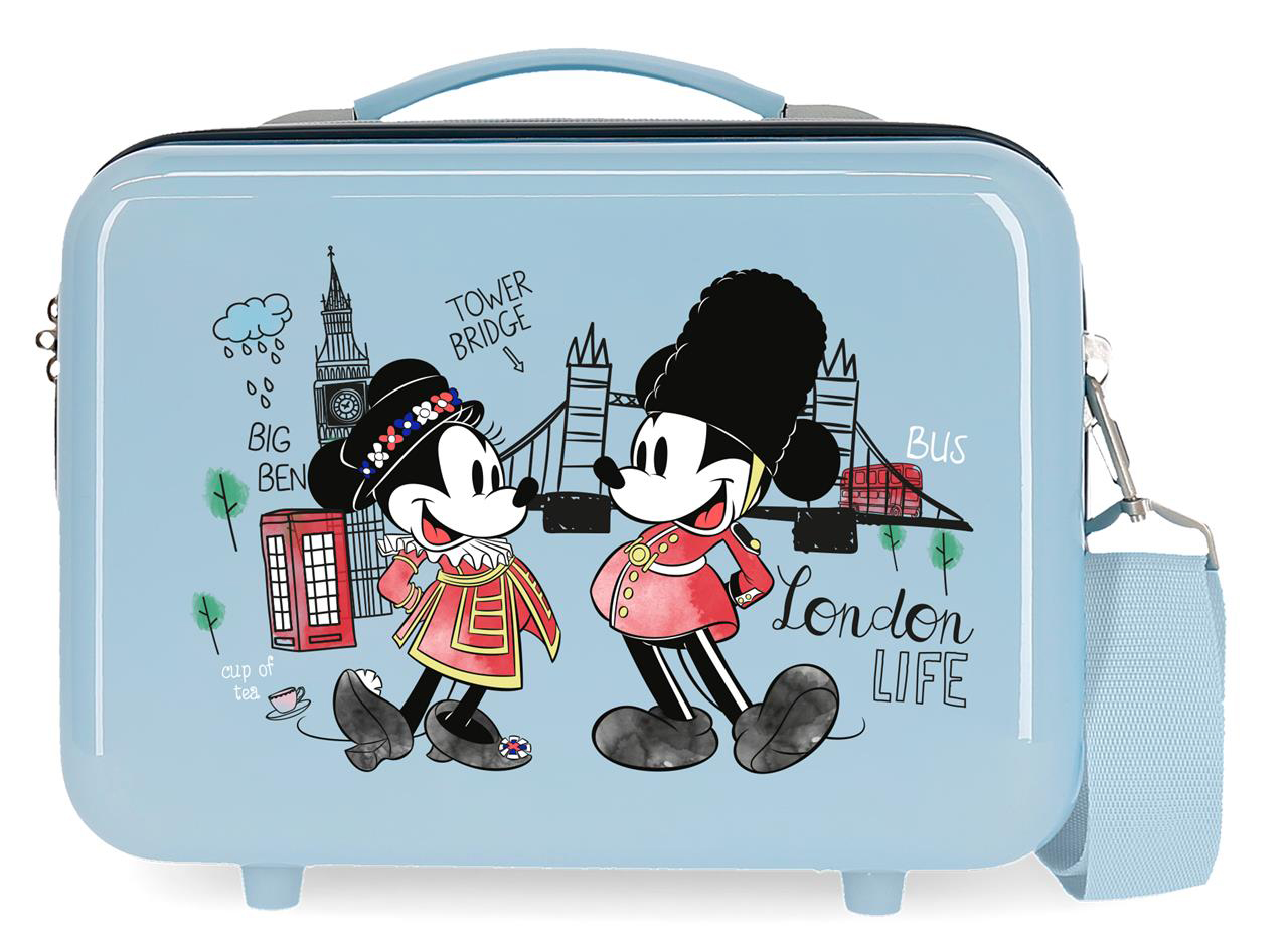 2283926 Neceser Lets Travel Mickey & Minnie London Azul Claro
