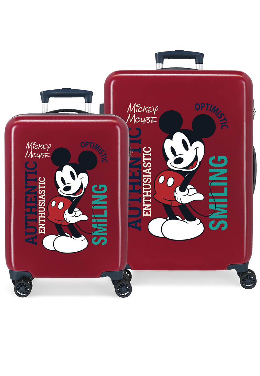 3421921 Juego Maletas Cabina y Mediana Mickey Original Authentique Granate