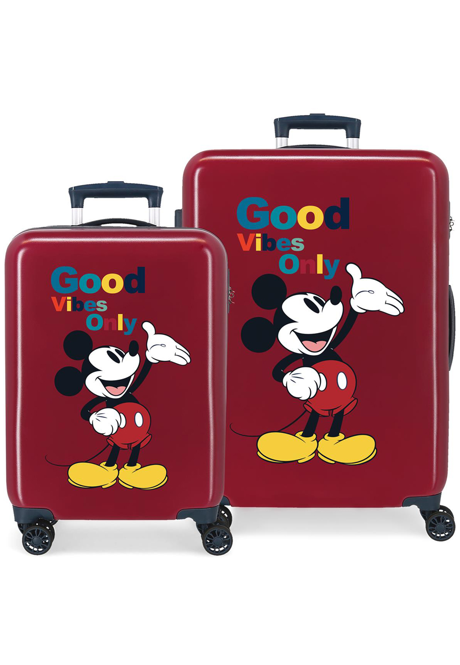 3421922 Juego de Maletas Mickey Original Good Vibes Only Granate