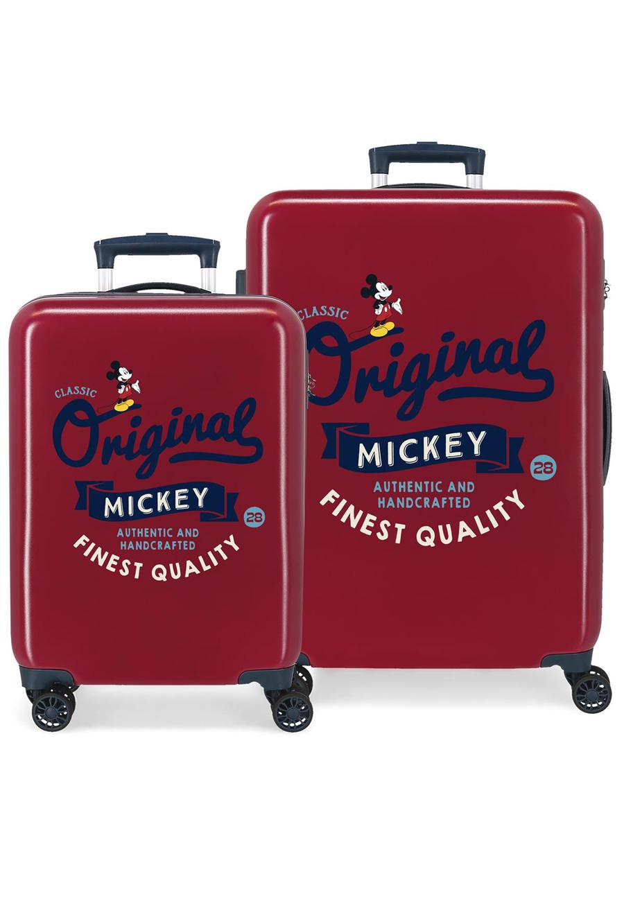 3421924 Juego Maletas Cabina y Mediana Mickey Original Classic Granate