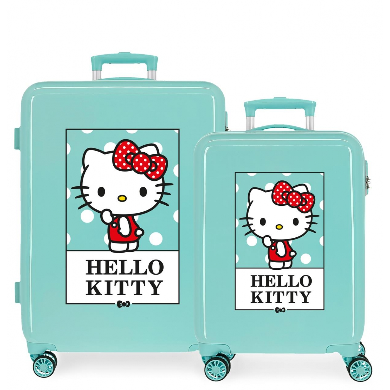 3191924 Juego Maletas Cabina y Mediana Hello Kitty Bow Of Hello Kitty Turquesa