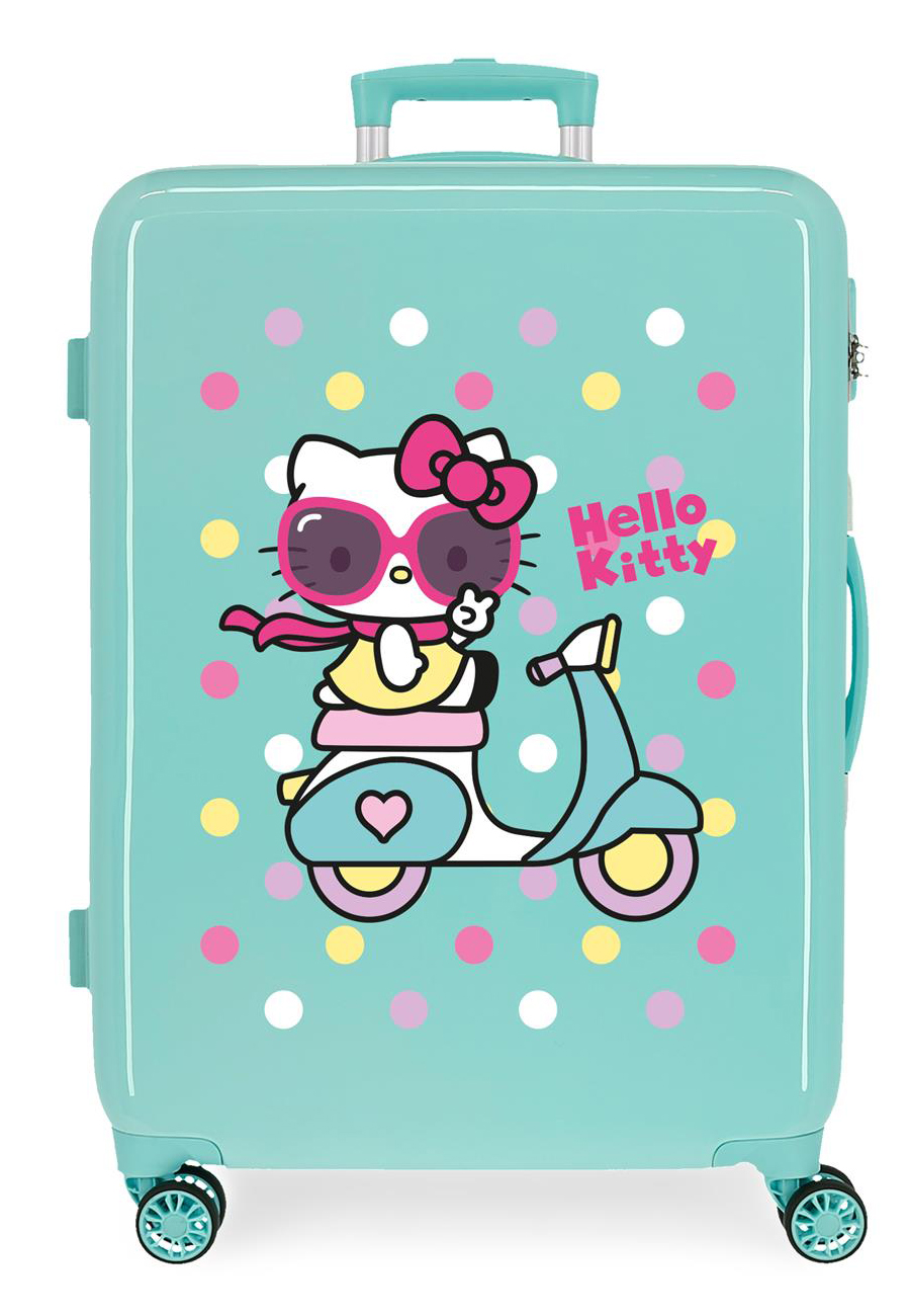 4231824 Maleta Mediana Girl Gang Hello Kitty Turquesa