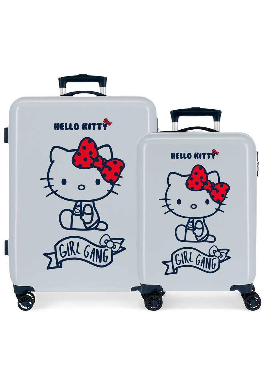 4231923 Juego Maletas Cabina y Mediana Girl Gang Hello Kitty Azul Claro