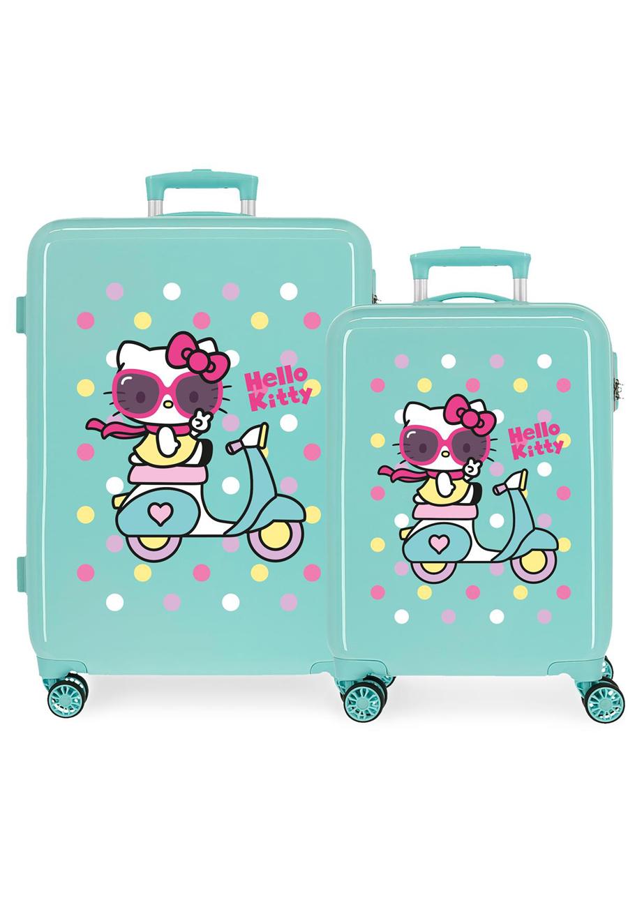 4231924 Juego Maletas Cabina y Mediana Girl Gang Hello Kitty Turquesa