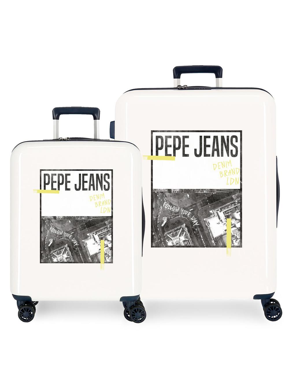 7929727 Juego Maletas Cabina y Mediana Pepe Jeans Nolan Crispin Beige