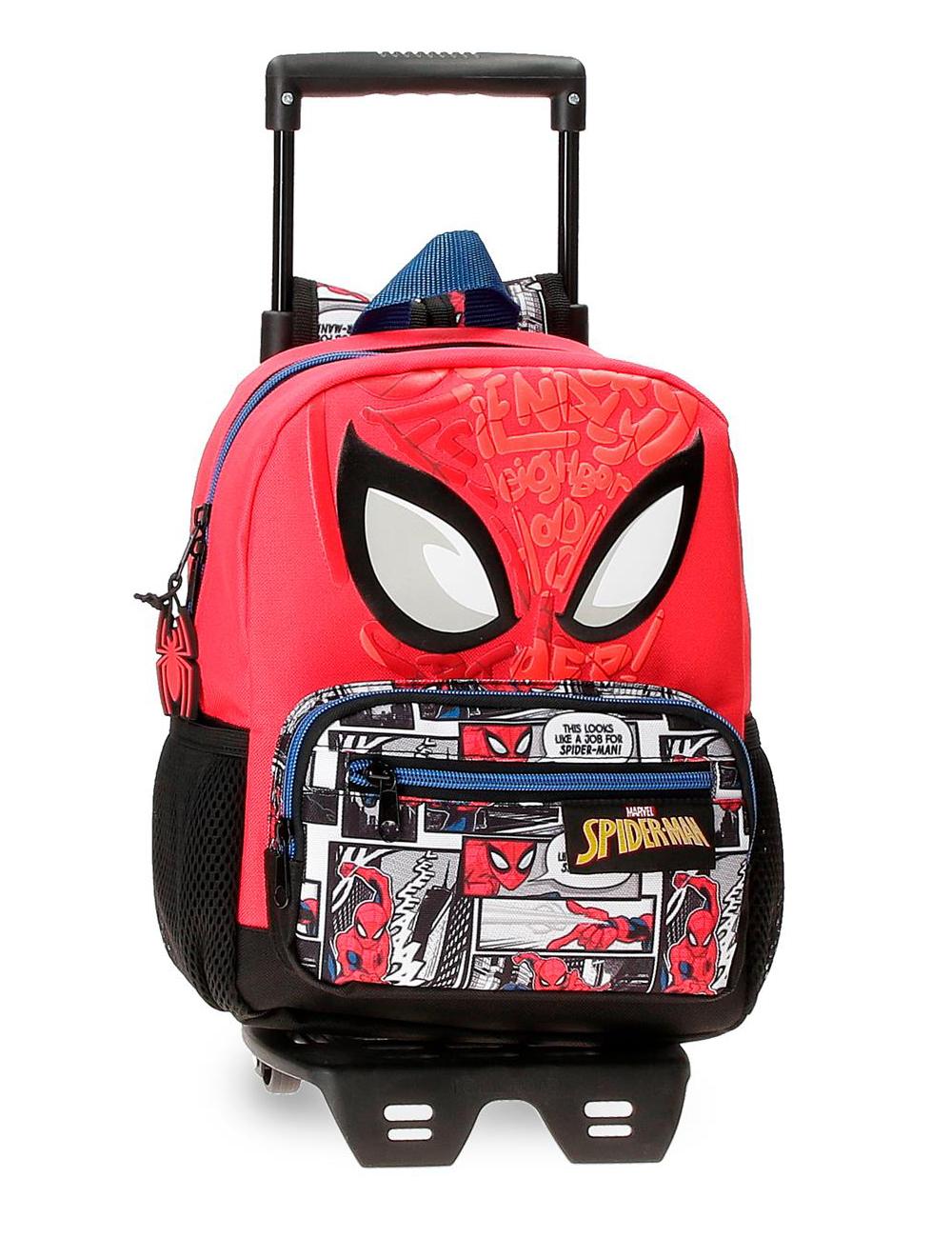 22521T1 Mochila 28cm con Ruedas Spiderman Comic