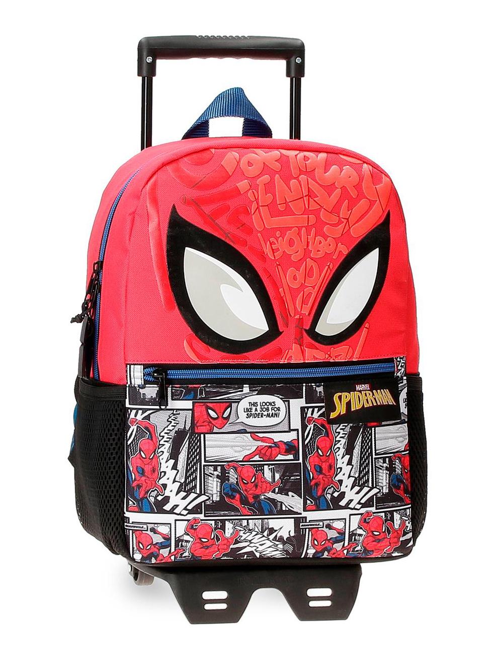 22522T1 Mochila 32cm con Carro Spiderman Comic