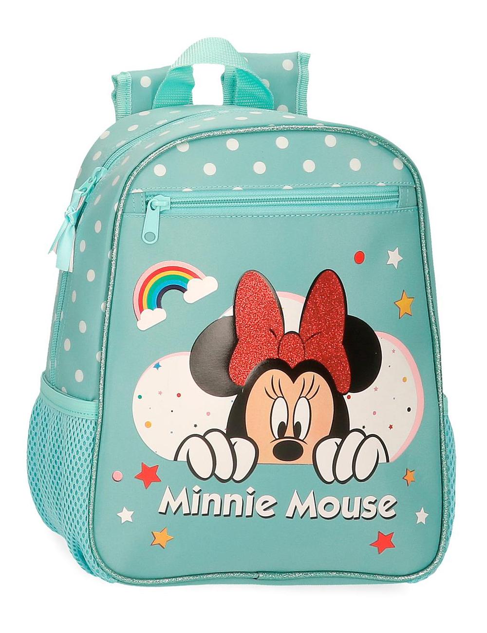 4772162 Mochila 28cm Minnie Rainbow Turquesa