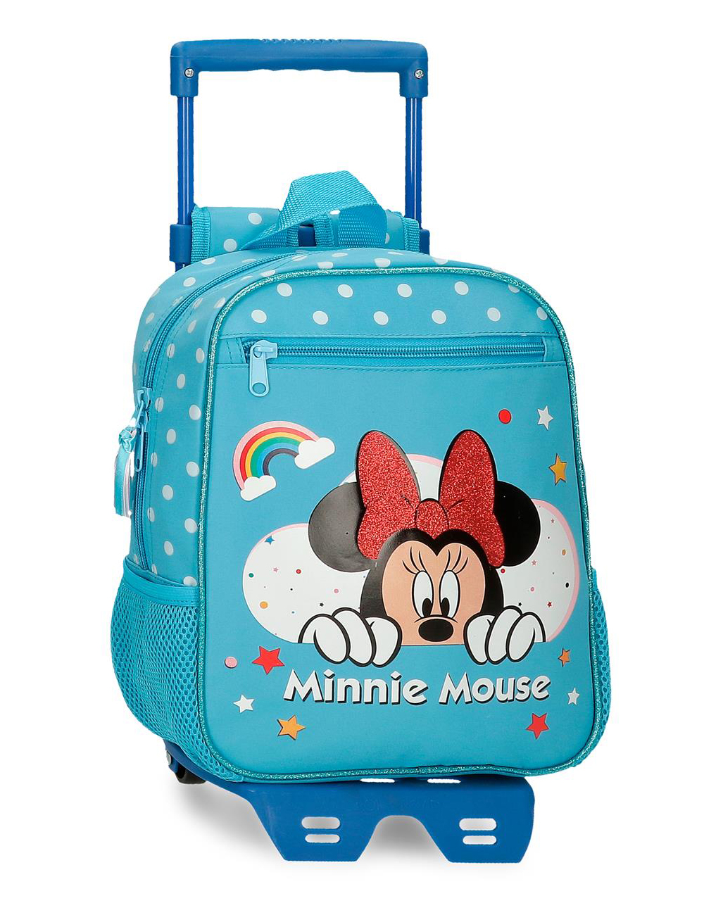 47721n3 Mochila 28cm con Ruedas Minnie Rainbow Azul