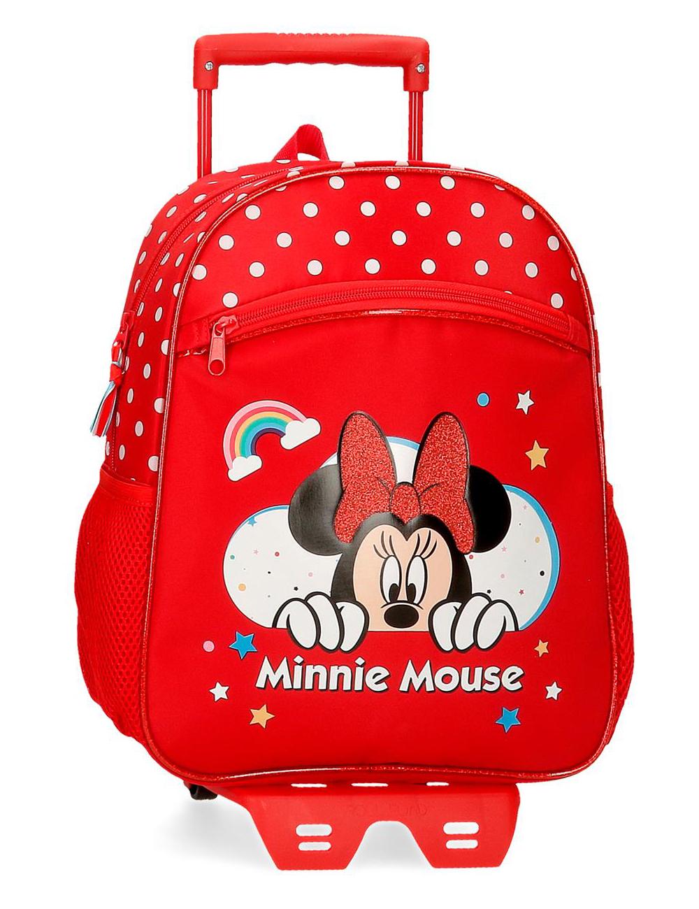 47722n1 Mochila 33cm con Ruedas Minnie Rainbow Rojo
