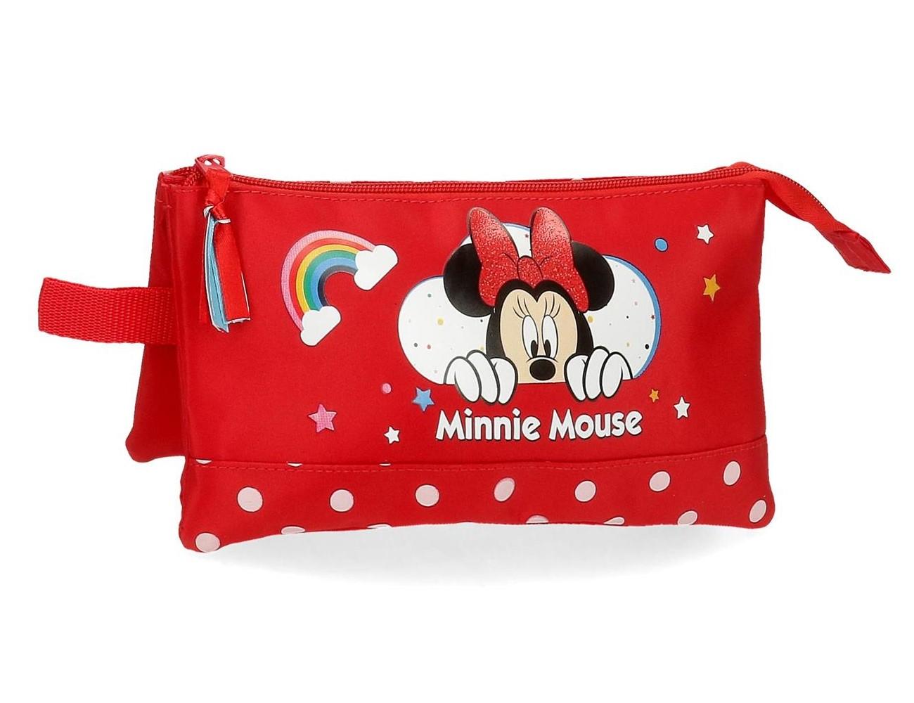 4774361 Portatodo 3 Compartimentos Minnie Rainbow Rojo