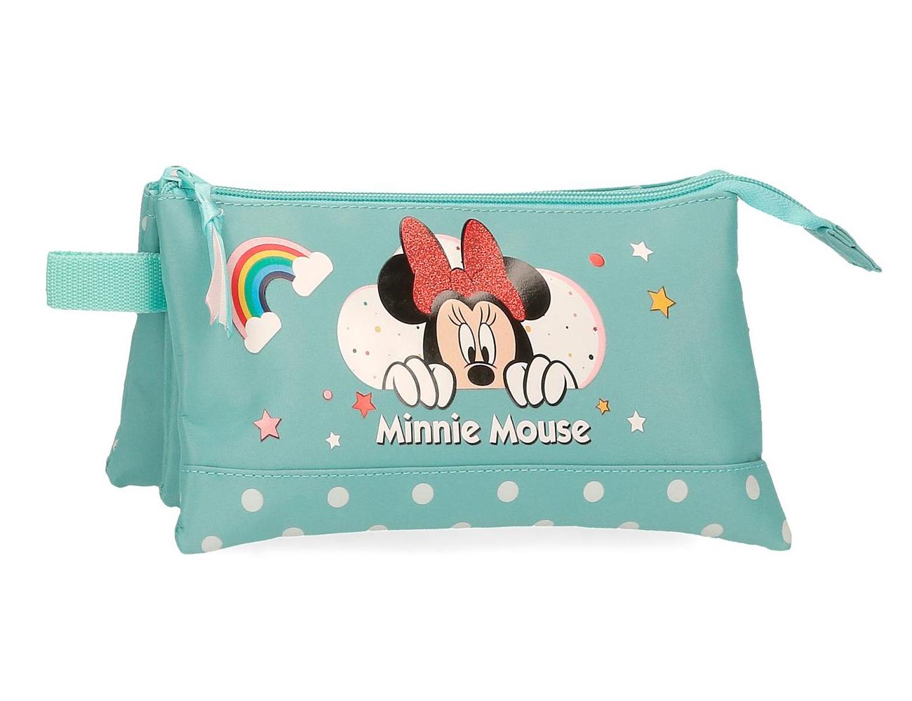 4774362 Portatodo 3 Compartimentos Minnie Rainbow Turquesa